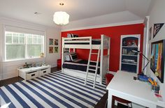 Red and blue are a classic combination in the kids' room [Design: Heartwood Corp]