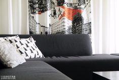 Luumutar: Verhot vaihtuu silmissä Marimekko, Love Seat, Couch, Curtains, Throw Pillows, Bed, Furniture, Design, Home Decor