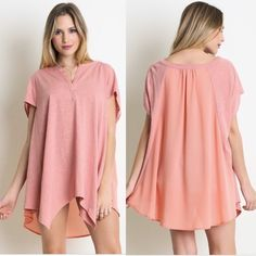 Aja Blush Top V neck top with semi sheer back. Short sleeves.  Many sizes available. Please contact me for your own listing! Lewboutiquetwo Tops