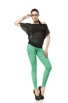 Sexy Green Crocodile Color Printing Leggings Pant
