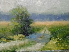 "A country road france.5""x7"".oil on board."