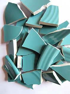 40 Turquoise Mosaic Tiles Broken China Mosaic Pieces Ceramic Mosaic Tiles Mosaic Art Supplies Tile Mosaic Supply Mosaic Craft Tiles Broken Dish Pieces Green and White Stripes ** Click image for more details.