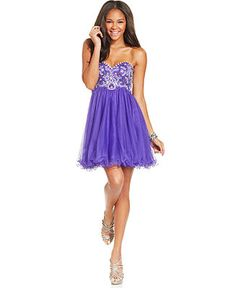 Blondie Nites Juniors' Beaded Babydoll Dress - Juniors Dresses - Macy's