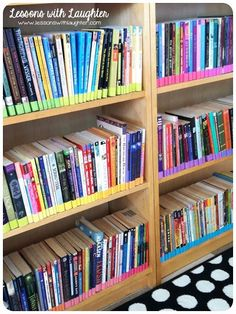 """Color-Coded Classroom Library Organization - Lessons With Laughter """"Not only is is pretty, but it could help keep track of a classroom library Atwell-style! Library Organization, Organization And Management, Classroom Management, Library Ideas, Free Library, Class Management, Organization Ideas, 4th Grade Classroom, School Classroom"""