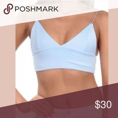 Light blue bralette As shown ! Petite size ! Brand new ! Tag still on . Tops Crop Tops