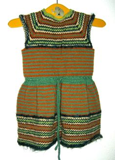 Vintage 40s era girls hand knitted knit sweater dress by sweetalicelovesyou on Etsy