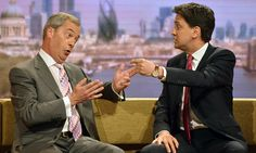UKip leader, the UK's 'most high profile politician', is a bigger threat to Ed Miliband than David Cameron, claims presenter. By John Plunkett Guardian http://www.theguardian.com/media/2014/oct/14/nigel-farage-leaders-debates-john-humphrys