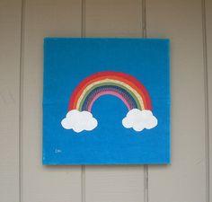 Rainbow #3 Fabric Wall Art by CottonwoodCove on Etsy