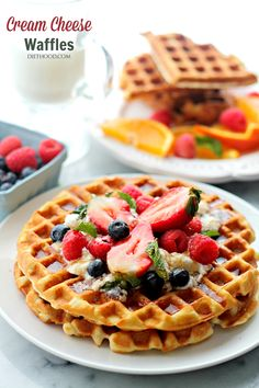 Cream Cheese Waffles with Honey Whipped Cream - Deliciously sweet and fluffy waffles served with honey whipped cream and fresh berries.