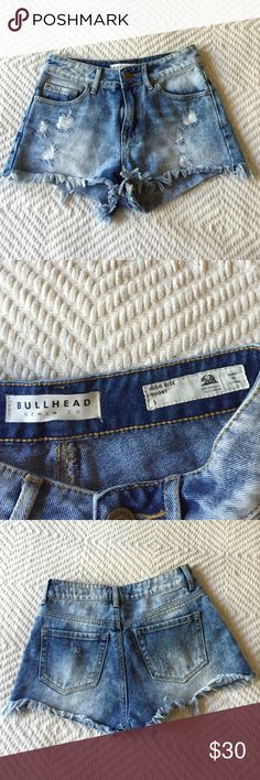 Pacsun high rise shorts Bullhead denim- Acid wash High waisted distressed shorts. Worn a couple time but overall Great condition. Very flattering PacSun Shorts Jean Shorts