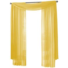 Sheer Curtain Window, Neon (Bright) Yellow, Scarf.