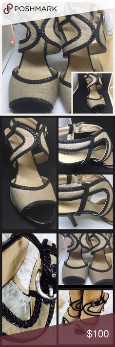 Tahari Black & Tan 7 1/2 M heel sandals Lima TAHARI heels open toe with black leather braided trim. TAn/beige canvas Silver buckle adjustable to fit, cross cross feature aprox 3.5 heel Pre-owned pre-loved see pictures for details- normal wear on bottom of shoe but has also been cleaned. No defects on actual shoe. 😍 Tahari Shoes Heels