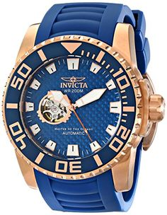 Men& Wrist Watches - Invicta Mens 14683 Pro Diver Analog Display Japanese Automatic Blue Watch *** See this great product. Hand Watch, Well Dressed Men, Watches For Men, Wrist Watches, Stainless Steel Case, Luxury Watches, Mens Fashion, Blue, Japanese