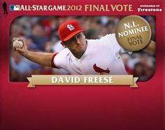 """David Freese going for the fan vote. Text """"N2"""" to 89269.  Photo from the Cardinals"""