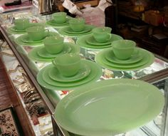 Fire king jadeite service set for 8 with serving tray China dinnerware play