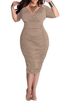 01784c46aec Women Plus Size Deep V Neck Wrap Ruched Bodycon Dress