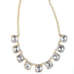 Retro Glam Square-Cut Crystal Necklace #boldaccessories #statement #chloe+isabel #estate #jewelry #retro #glam #squarecut #crystal #necklace