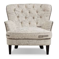 Gentility Galore. The Bayfield accent chair in French-script beige has such grace and gentility, it could serve as a focal piece of your living room. Its upscale upholstery bears an expertly woven linen-like texture. Antiqued, burnished nailhead trim amplifies the chair's exquisite curves. The French script motifs add old-world caché and refinement.   A web-exclusive product. Item is not displayed in store, but may be ordered there.