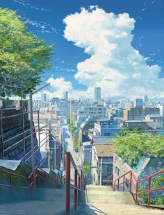[Kimi no Nawa] Anime Scene Fantasy Landscape, Landscape Art, Landscape Photography, Urban Landscape, Animes Wallpapers, Cute Wallpapers, Desktop Wallpapers, Anime Backgrounds Wallpapers, Aesthetic Art