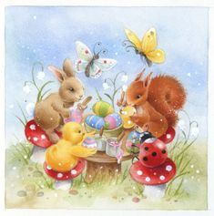 Leading Illustration & Publishing Agency based in London, New York & Marbella. Easter Art, Easter Crafts, Easter Bunny, Easter Drawings, Animal Drawings, Ostern Wallpaper, Lapin Art, Images Wallpaper, Art Fantaisiste