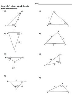 Sin and Cosine Worksheets | Law of cosines, 4). and Printables