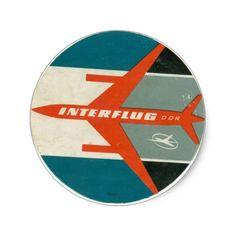 ヴィンテージのInterflugの荷物のラベルの再生 丸型シール