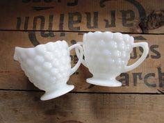 Sugar and Creamer Set, Vintage Milk Glass Hobnail Sugar Bowl and Creamer