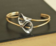 Vintage sterling and brass double calla lily by CrowRidgeStudios