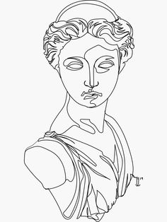 Greek Drawing, Line Drawing Art, Outline Art, Tattoo Outline, Statue Tattoo, Art Drawings Sketches, Line Drawings, Line Drawing Tattoos, Arte Sketchbook