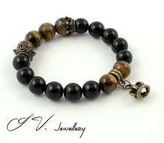 Tiger Eye & Onyx Crown Bracelet Luxury Gemstone by IvJewellery