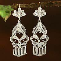Silver chandelier earrings, 'Path of Flowers' by NOVICA