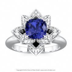 Lotus Ring with Cushion cut Blue Sapphire in Platinum