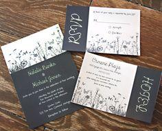 Garden Wedding Invitation, Rsvp Card, Detail/Hotel Card