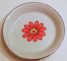 Vintage Porcelain Mod Flower Butter Pat Dish