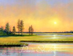 This is a fine art giclee print of a beautiful marshland in the morning sun. I saw this pretty scene on a riverboat cruise and knew I had to paint