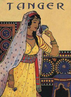 Tanger Tangier Morocco Arabic Girl Flowers Travel  Vintage Poster Repro FREE…