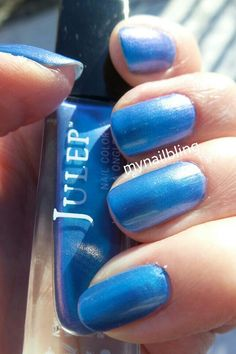 "This is ""Danielle"" from Julep, a turquoise blue metallic duochrome. The duochrome isn't very strong, but the color is lovely."