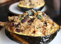 This quinoa-stuffed acorn squash could make for a great alternative to traditional stuffing! The full recipe can be found on Dr. Frank Lipman's Healthy Recipes for Thanksgiving.
