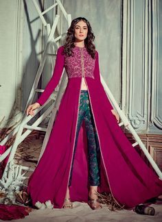 Astounding Magenta Georgette Pant Style Suit