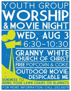 Youth Group Movie Night Poster these are cool and wld make ya wanna go :)