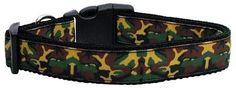 Green Camo Nylon Ribbon Dog Collars Large