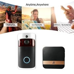 Smart Wireless WiFi Security DoorBell Video Door Phone with Plug-in Chime Visual Recording Sales Online black eu - Tomtop Door Locks, Plugs, Wifi, Doors, Iphone, Black, Self, Gate Locks, Corks