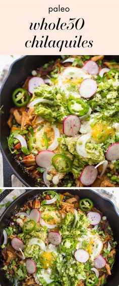 These chilaquiles are one of our favorite Mexican recipes. With sweet potatoes, carnitas or chicken, and plenty of toppings, these chilaquiles are flavorful and easy to make. Bound to become one of your favorite Mexican rec paleo lunch sweet potato Spicy Recipes, Mexican Food Recipes, Whole Food Recipes, Cooking Recipes, Healthy Recipes, Cooking Games, Whole 30 Chicken Recipes, Whole30 Recipes, Drink Recipes
