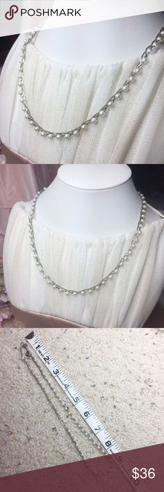 """Banana Republic woven silver pearl necklace This necklace reminds me of the one mentionein the story """"Ella Enchanted"""" because of the pearls delicately woven into the silver threads. Such a beautiful dainty necklace. It's a shame silver isn't my color or I'd be keeping it. Banana Republic Jewelry Necklaces"""