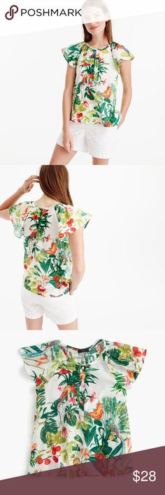 """J. Crew Ruffle-sleeve top in Ratti Into the Wild J. Crew Ruffle-sleeve top in Ratti Into the Wild print Retail: $98  Size 12 Length: 22"""" laid flat Chest: 21"""" armpit to armpit  Ever wonder where the world's most amazing prints, scarves and wovens come from? The answer is Ratti, one of the leading producers of fabric for womenswear, furnishing and accessories, located in Como, Italy. We discovered this vibrant jungle-inspired motif in their archives and sprinkled it onto items throughout our…"""
