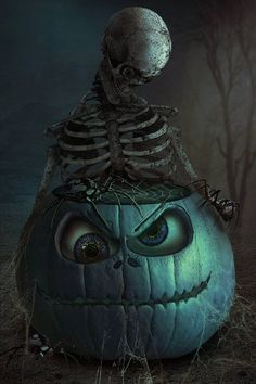 pumpkin - Halloween Pumpkin Skeleton - Skeleton eyes - The Eyes Have It bg - Premade Background 13 . Halloween Kunst, Photo Halloween, Halloween Artwork, Halloween Pictures, Halloween Wallpaper, Halloween Horror, Holidays Halloween, Vintage Halloween, Halloween Crafts