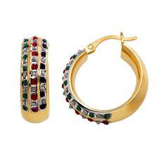 18k Gold-Over-Silver Gemstone Hoop Earrings, Women's, multicolor