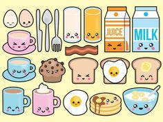 Premium Vector Clipart - Kawaii Breakfast Clipart - Kawaii Food Clip art Set - High Quality Vectors - No Faces - Kawaii Clipart