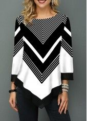 Chevron black and white all day! Such a perfect blouse for work or to dress up jeans. Print Asymmetric Hem Three Quarter Sleeve T Shirt Trendy Tops For Women, Blouses For Women, Cute Blouses, Ideias Fashion, Chevron, Knitwear, Sleeves, Clothes, Quarter Sleeve