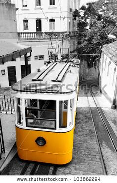 Funicular (Elevador do Lavra) in Lisbon, Portugal - stock photo